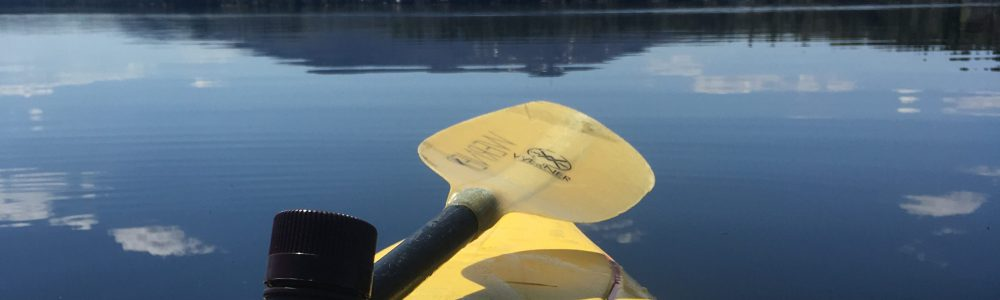 A kayak with equipment for data collection on Lake Sunapee